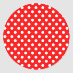 Red Retro Polka Dots Pattern Card Seal Sticker