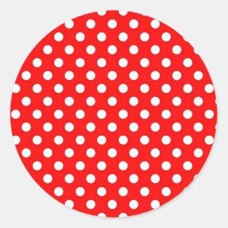 Red Retro Polka Dots Pattern Card Seal Sticker Round Sticker