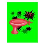 Red Retro Raygun Postcard