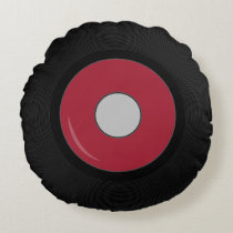Red Retro Record Disk Round Pillow