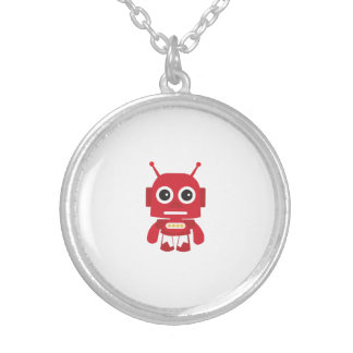 Red Retro Robot Silver Plated Necklace