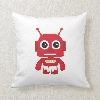Red Retro Robot Throw Pillow