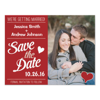 Red Retro Script Wedding Photo Save the Date Card