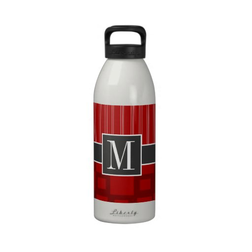 Red Retro Square Water Bottle