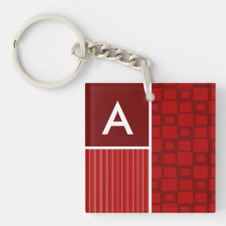 Red Retro Squares Double-Sided Square Acrylic Keychain