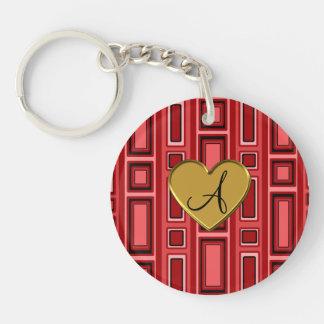 Red retro squares monogram Double-Sided round acrylic keychain