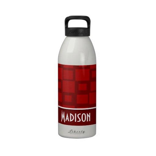 Red Retro Squares; Square Pattern Water Bottles