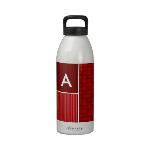 Red Retro Squares Water Bottle