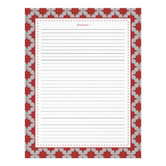 Red Retro Star Additional Recipe Pages