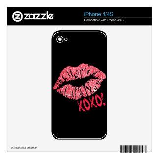 RED RETRO SUGAR LIPS XOXO iPhone 4S DECALS