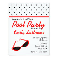 Red Retro Sunglasses / Polka Dots Pool Party Invitation