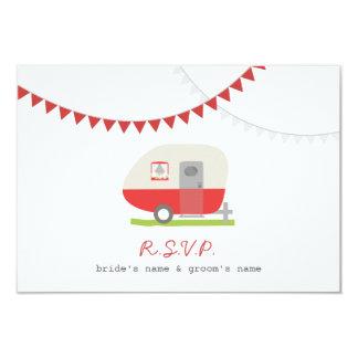 Red Retro Trailer & Bunting Wedding RSVP 3.5x5 Paper Invitation Card