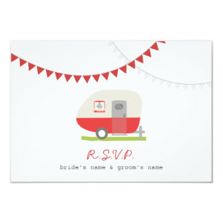 Red Retro Trailer & Bunting Wedding RSVP Custom Announcement