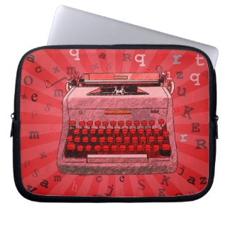Red Retro Typewriter on Rays Background Case Laptop Computer Sleeves