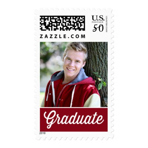 Red Retro Typography Photo Graduation Stamp