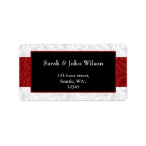 red, return address label