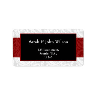 red, return address label