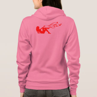 red revolver girl shooting hearts hoodie