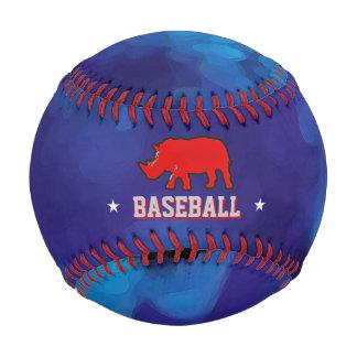red rhino on blue personalized baseball