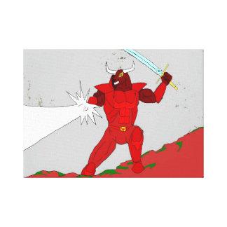 Red Rhok the Minotaur Knight canvas