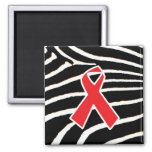 Red Ribbon 2 Inch Square Magnet