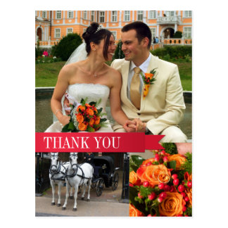 Red ribbon 3 photo montage wedding thank you note post cards