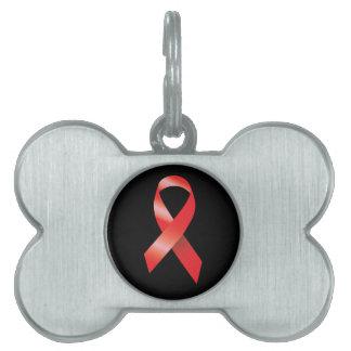 Red Ribbon AIDS Awareness Pet ID Tag
