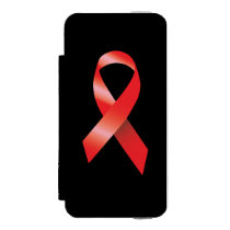 Red Ribbon AIDS Awareness Wallet Case For iPhone SE/5/5s