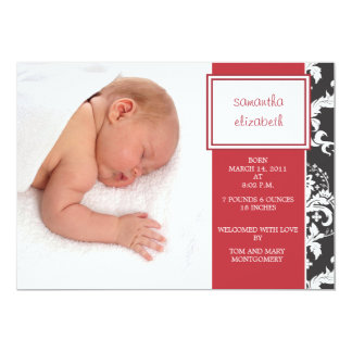 Red Ribbon and Damask Birth Announcement