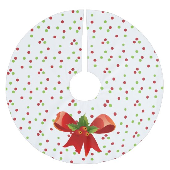 Red Ribbon and Polka-dots - Christmas Tree Skirt