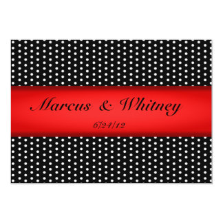Red Ribbon And White Polka Dots Save The Date Card
