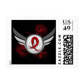 Red Ribbon And Wings Stroke Postage