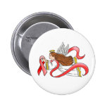 """""""Red Ribbon"""" Awareness Angel 2 Inch Round Button"""