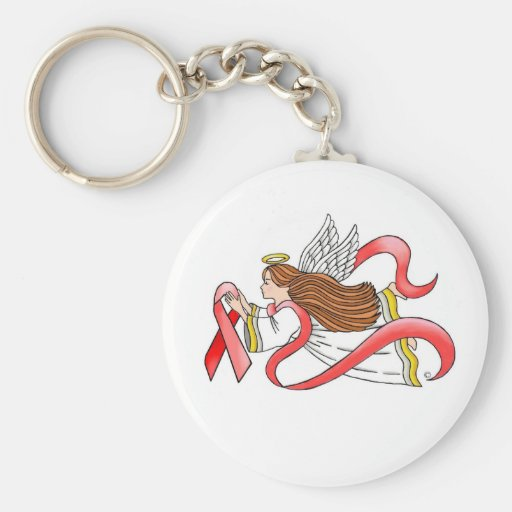 """Red Ribbon"" Awareness Angel Keychain"