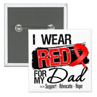 Red Ribbon Awareness - Dad 2 Inch Square Button