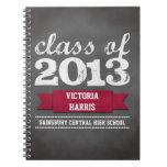 Red ribbon banner chalkboard graduation student notebook