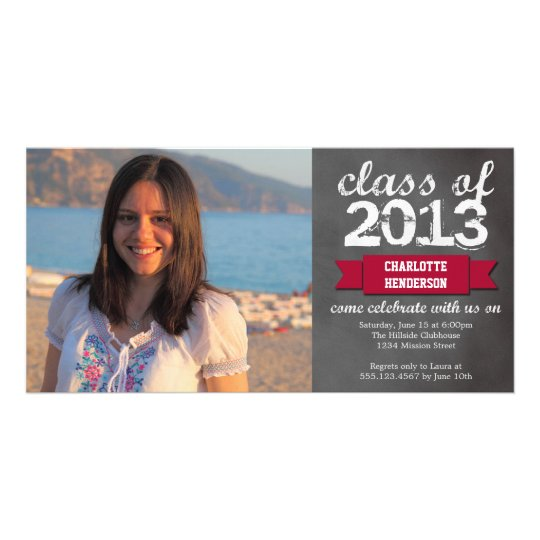 Red ribbon banner chalkboard photo graduation card