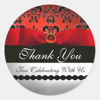 RED RIBBON  BLACK & WHITE DAMASK Thank You Classic Round Sticker