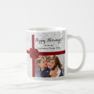 Red Ribbon Bow Christmas Photo Coffee Mug