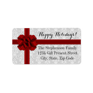 Red Ribbon Bow Christmas Photo Label