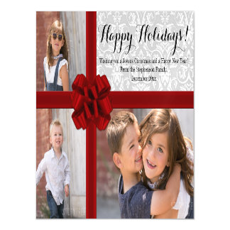 Red Ribbon Bow Christmas Photo Magnetic Card