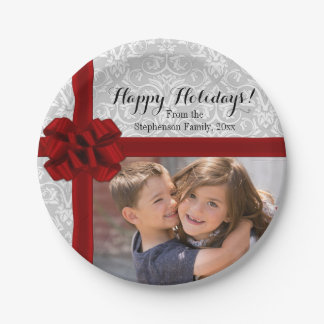 Red Ribbon Bow Christmas Photo Paper Plate