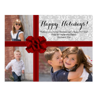 Red Ribbon Bow Christmas Photo Postcard