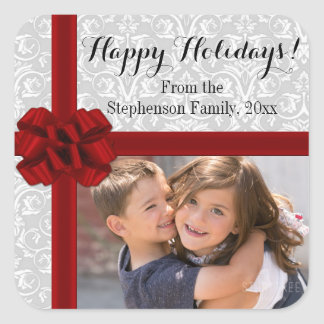 Red Ribbon Bow Christmas Photo Square Sticker