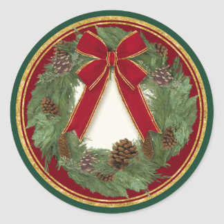 Red Ribbon Bow Christmas Wreath Pine Cone Seals