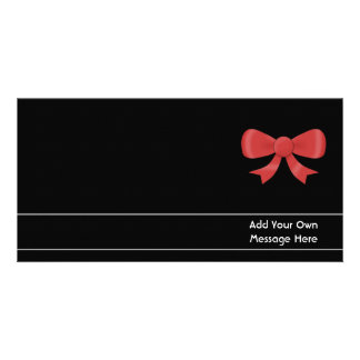 Red Ribbon Bow. On Black. Custom White Text Card