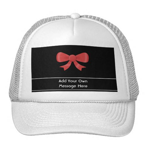 Red Ribbon Bow. On Black. Custom White Text Hats