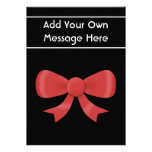 Red Ribbon Bow. On Black. Custom White Text Personalized Invite