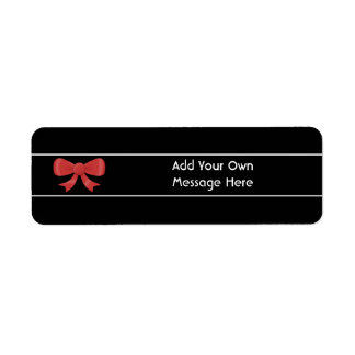 Red Ribbon Bow. On Black. Custom White Text Label