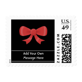 Red Ribbon Bow. On Black. Custom White Text Postage